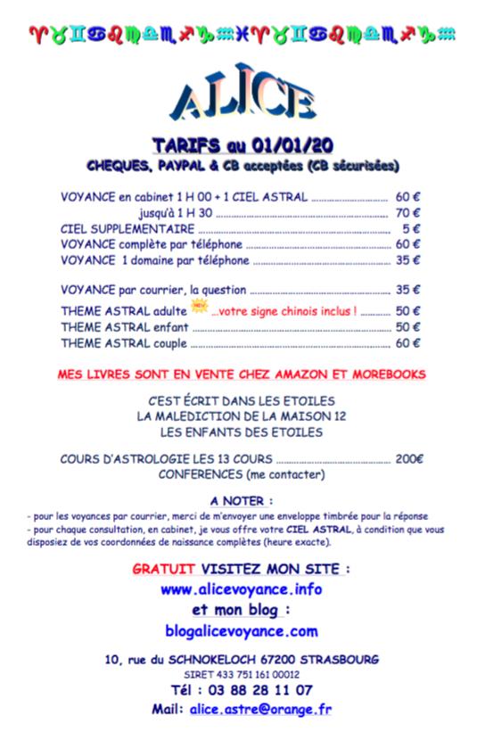 TARIFS ALICE 2020